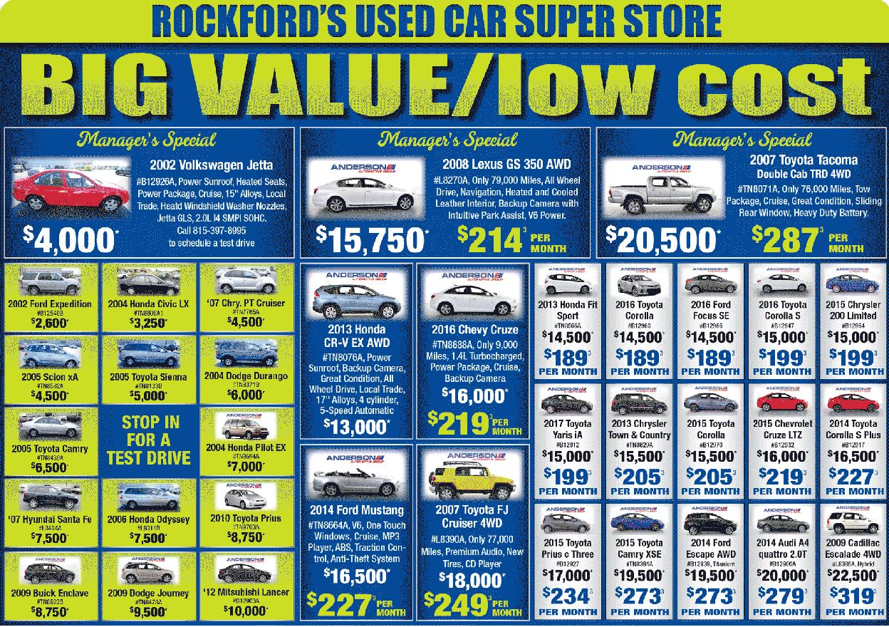 Used car specials at Anderson Toyota in Rockford, IL