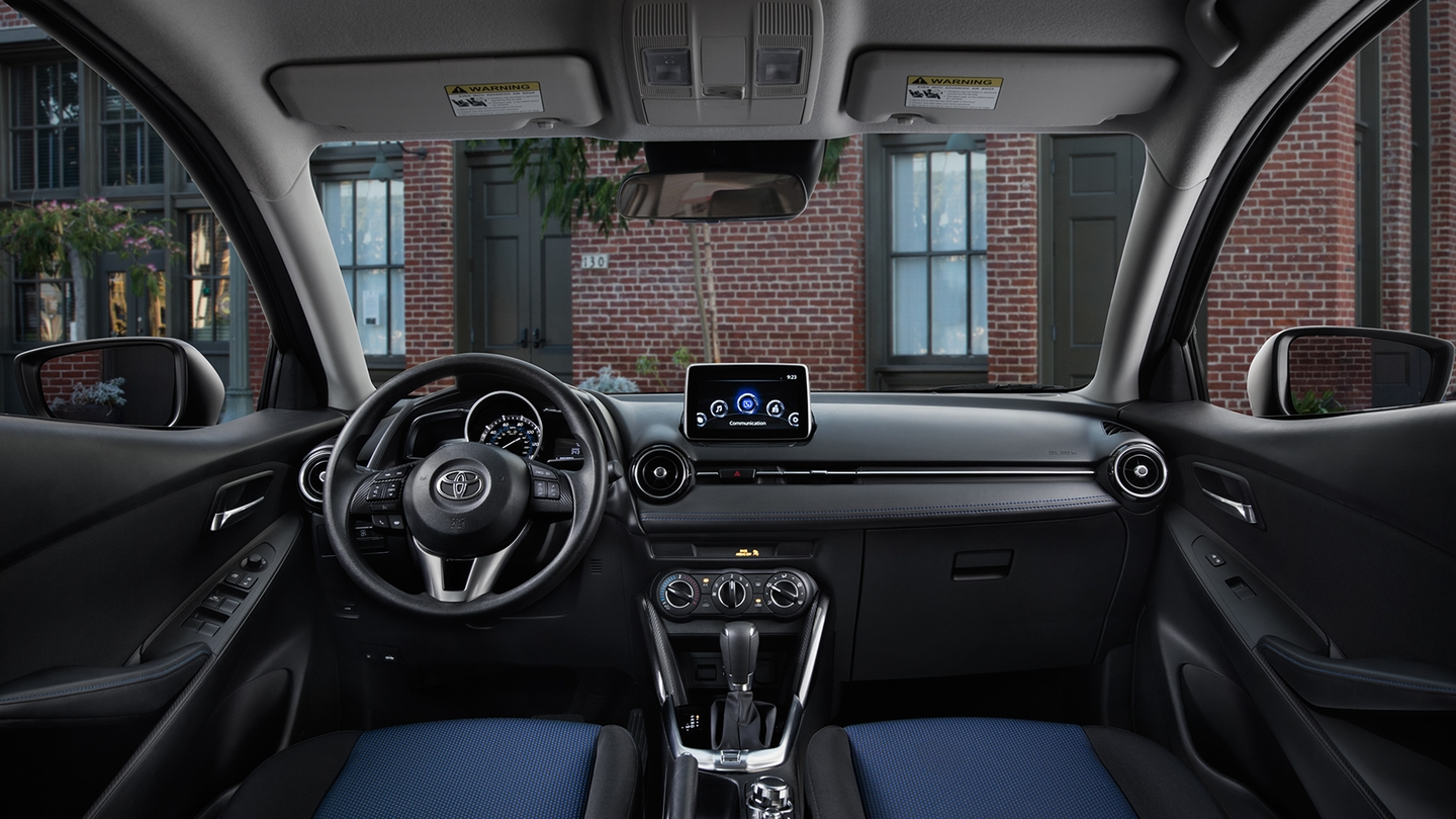 Yaris iA Interior Shown in Mid-Blue Black