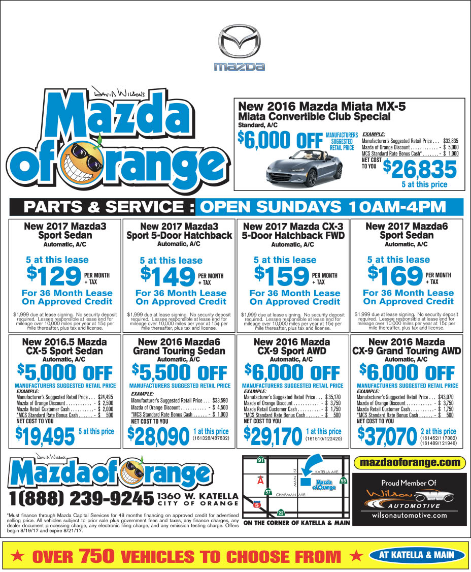 Mazda of Orange Newspaper Ad Weekend Special Offers