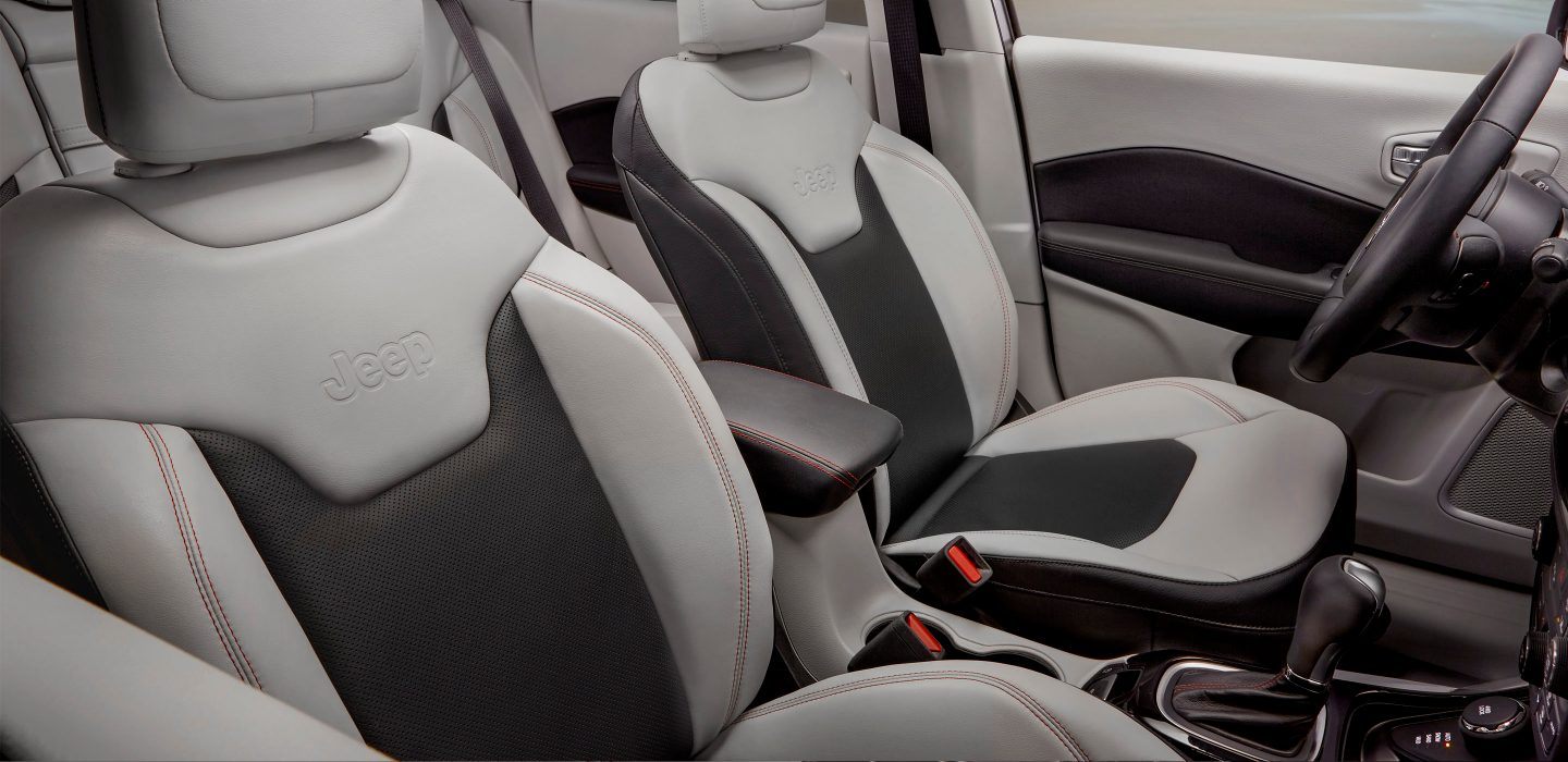 Two Tone Black And Ski Gray Jeep Compass Interior With Ruby Red Stitching