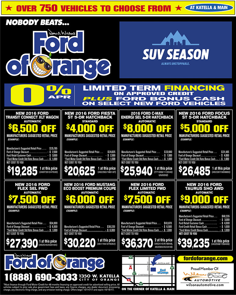 Ford of Orange Newspaper Ad - Ford Special Offers Orange County