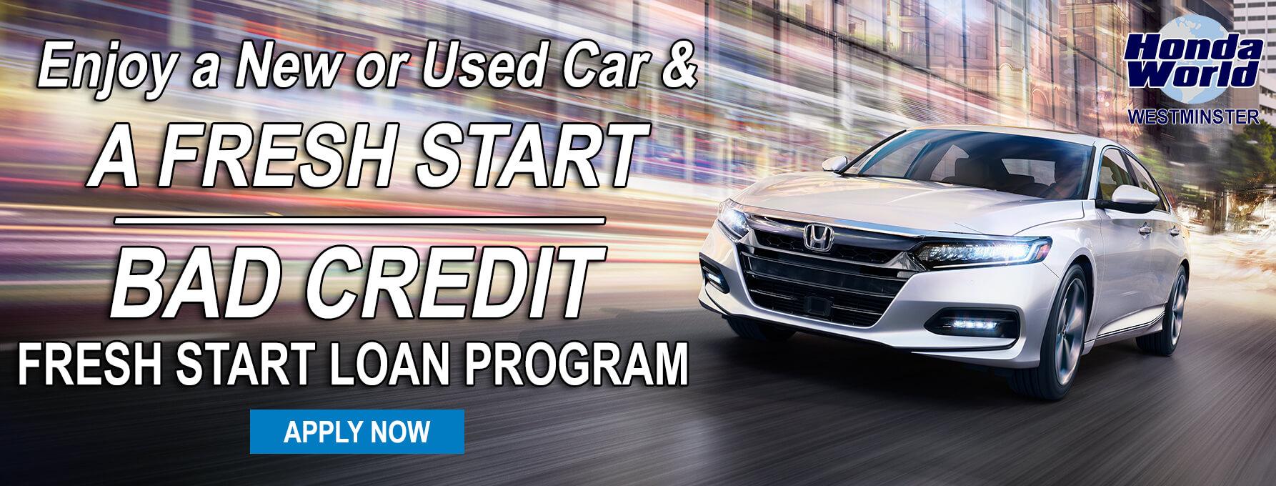 Bad credit car loans orange county ca westminster auto for Honda auto loan