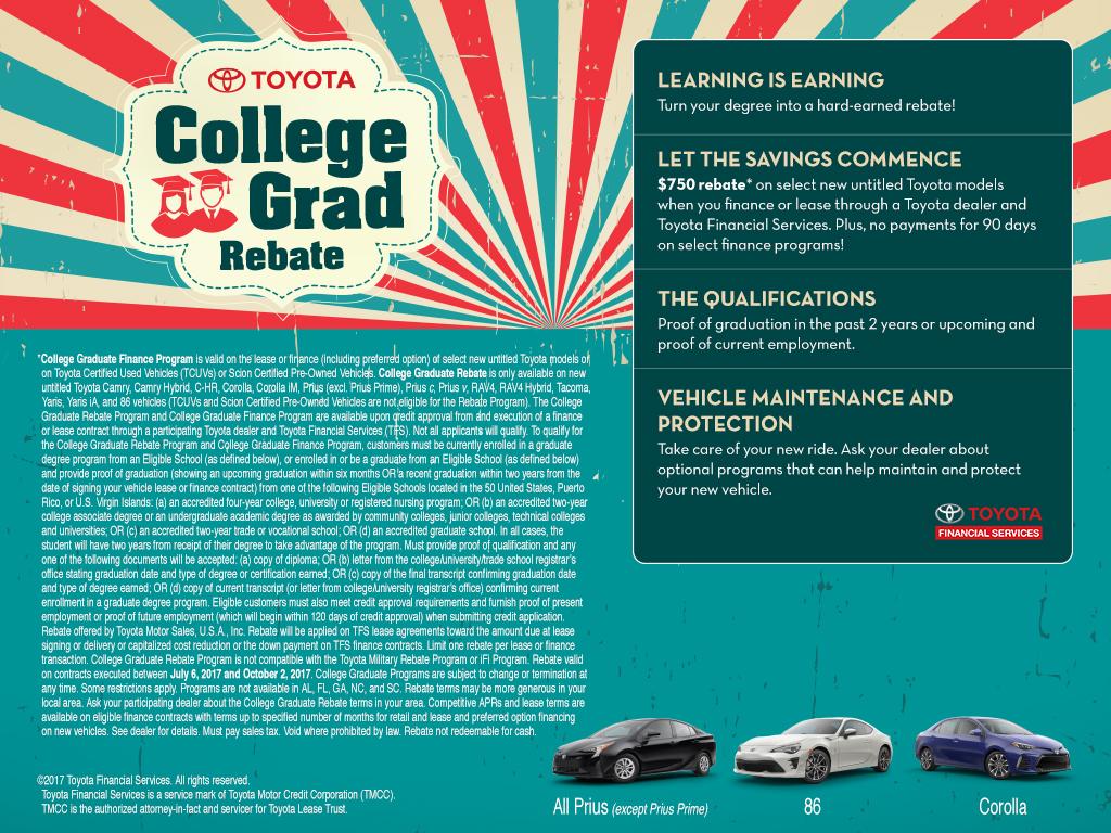 Hybrid Rebates Toyota College Grad Auto Financing Program Car Rebates
