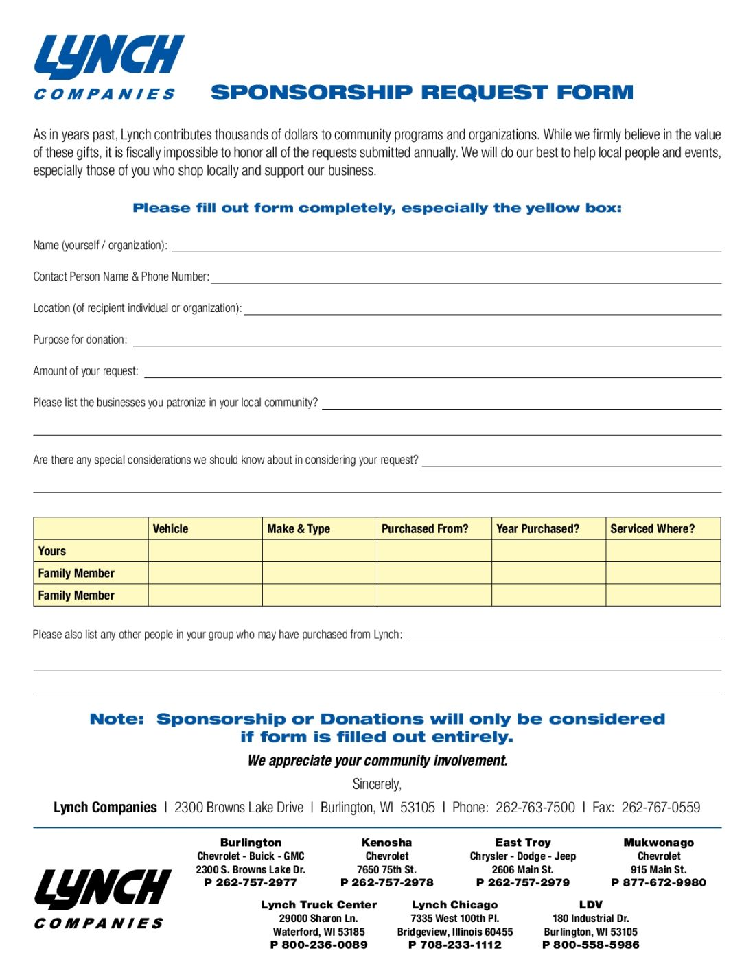 Lynch Companies – Sponsorship Request Form