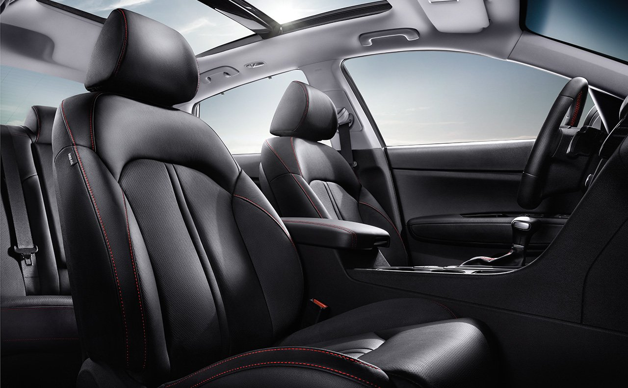 Sport Leather Seating With Contrast Red Stitching in the 2018 Optima