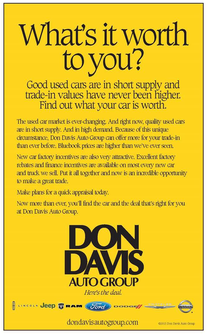 Whats It Worth >> What S It Worth To You Don Davis Auto Group Don Davis Auto Group