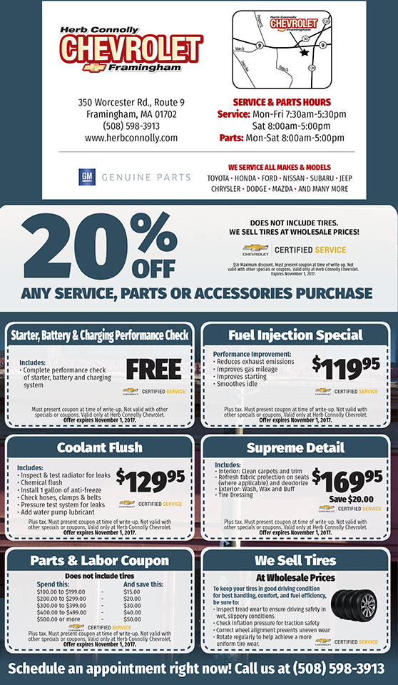 Service Department Coupons Specials Herb Connolly Chevrolet