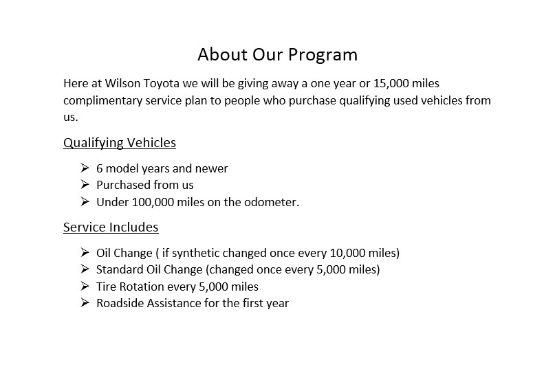 Wilson Toyota Care