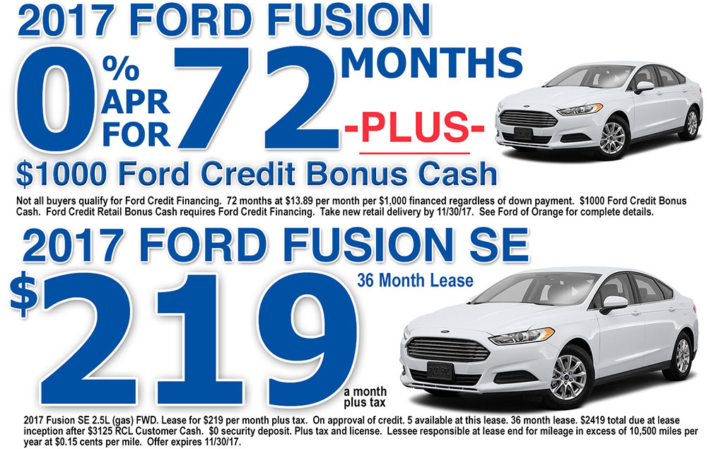 2017 Ford Fusion Special Offers Orange County