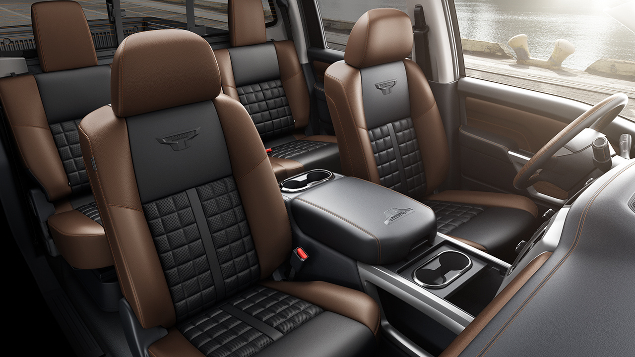 Available Titan XD Seats in Black/Brown Leather