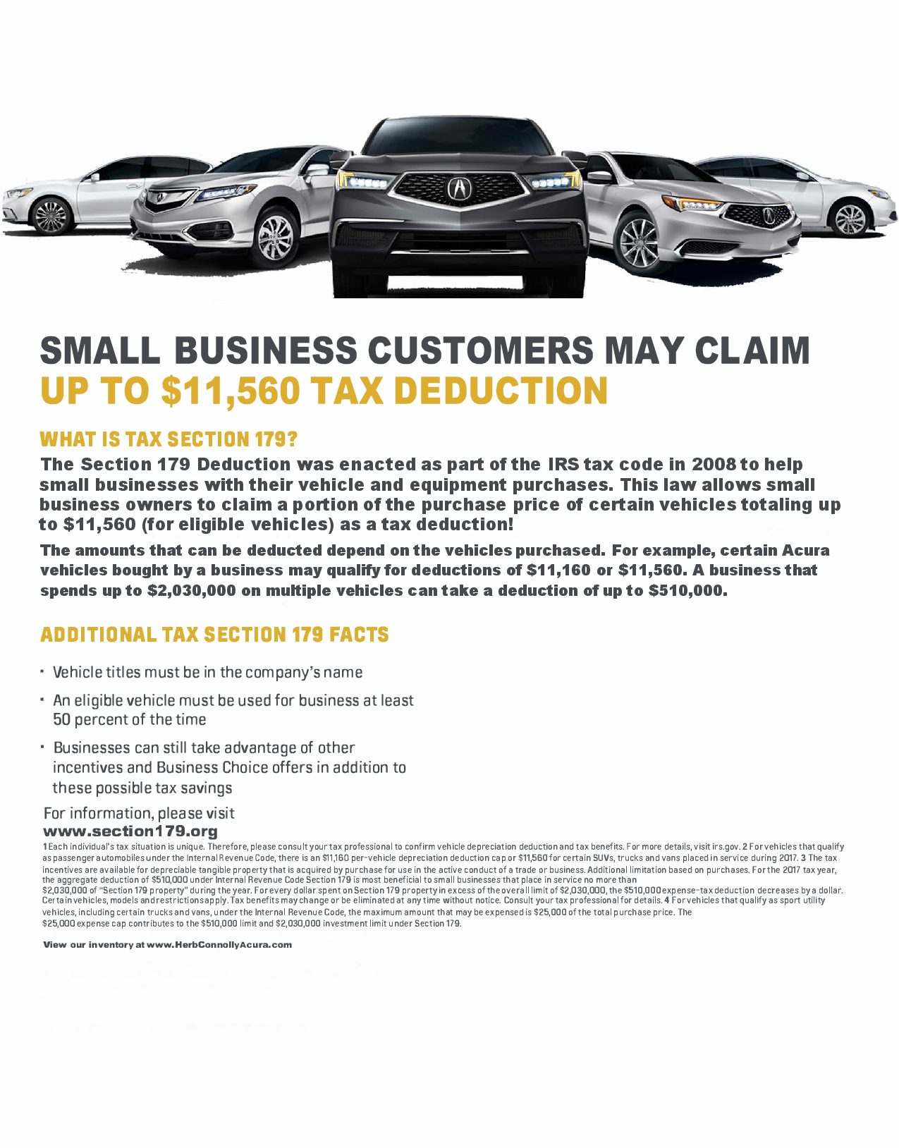 Section 179 Tax Savings - Herb Connolly Acura