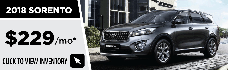2018 Kia Sorento. Lease For $229/mo. 10,000 Mile / 36 Month Lease. $999 +  First Payment Due At Signing W.a.c. Tax, Title, And License Not Included.