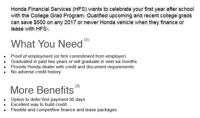 [1] For Well Qualified Customers Who Meet Honda Graduate Program Criteria,  Subject To Approval By Honda Financial Services ...