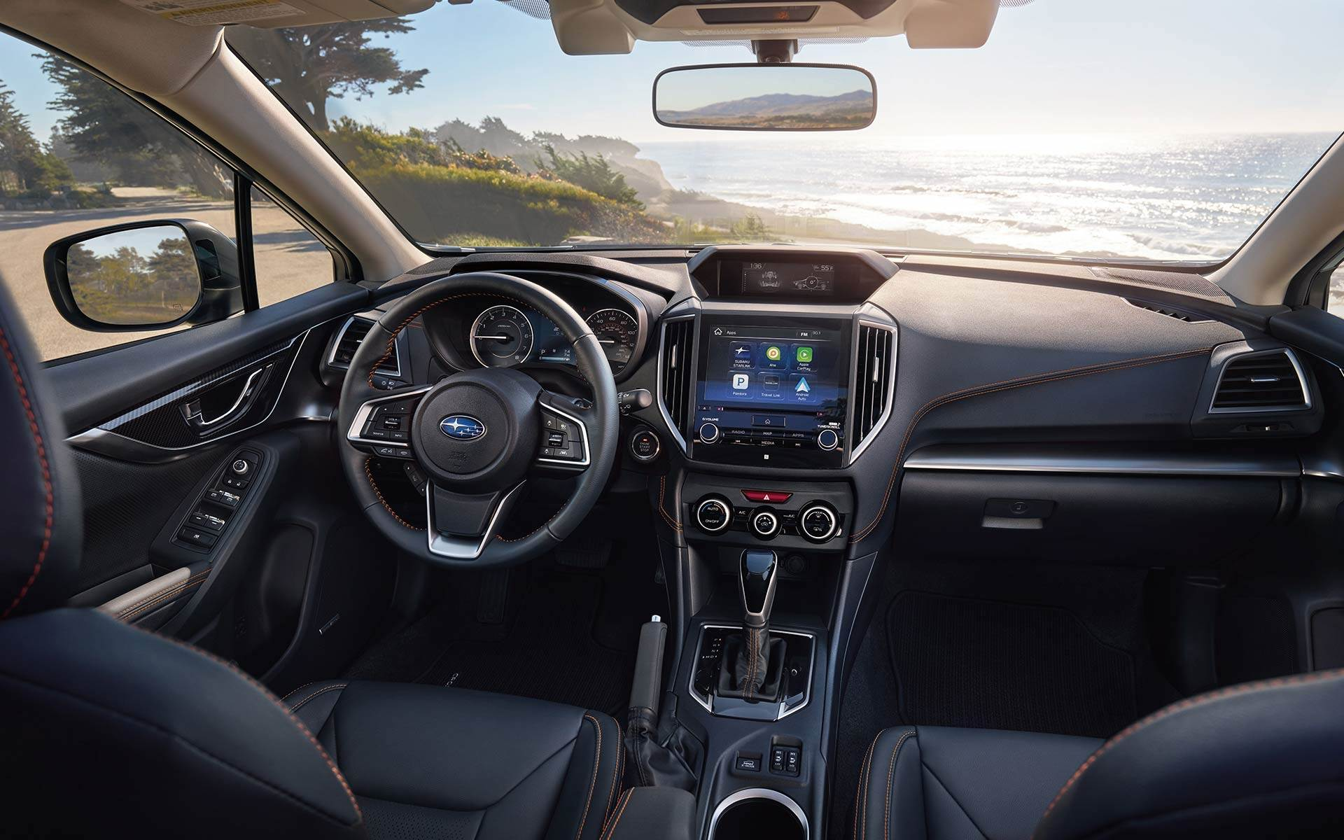 Black Leather Interior of the Subaru Crosstrek