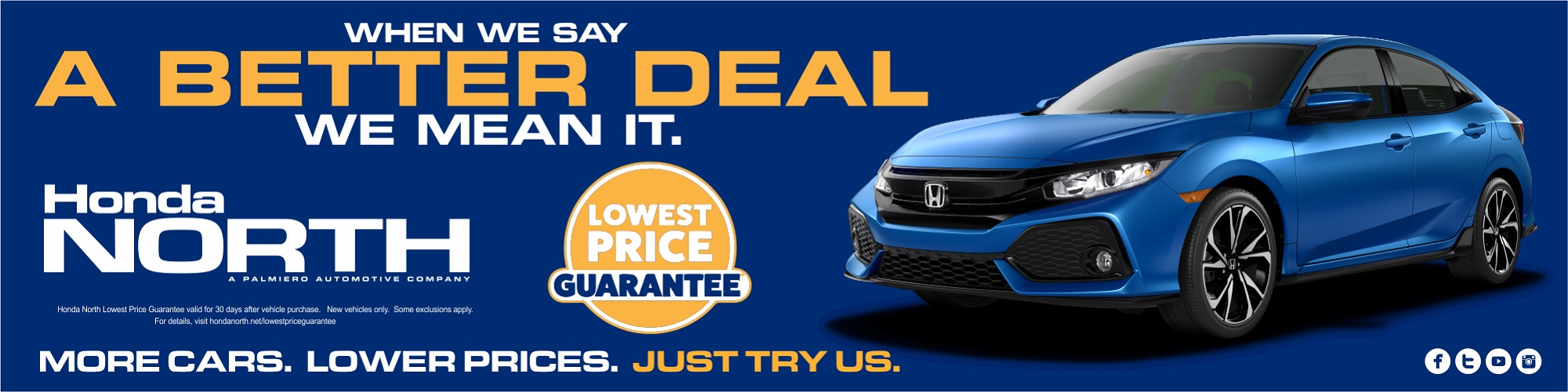 Lowest Price Guarantee Banner at Honda North in Butler, PA