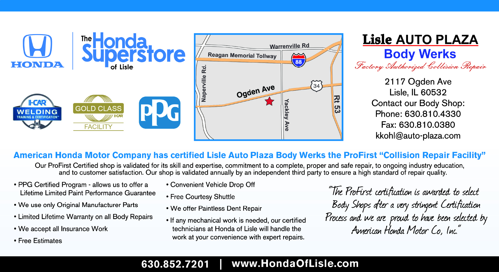 Honda Auto Body Repair - Honda of Lisle