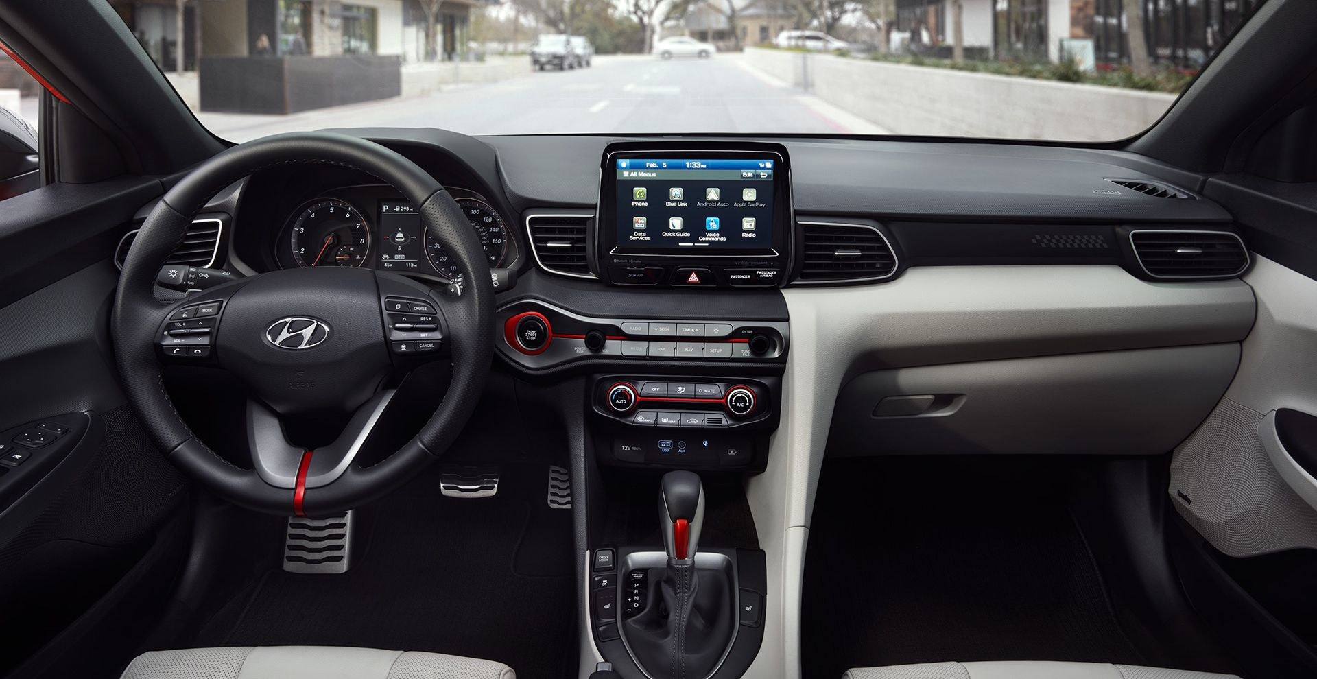 Interior of the 2019 Veloster Turbo
