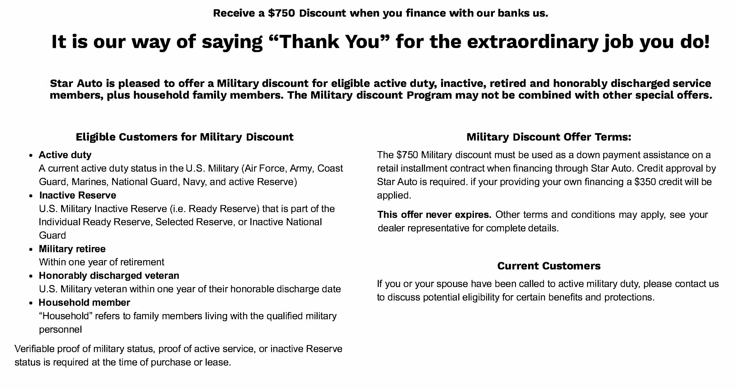 Military Discount - Star Auto