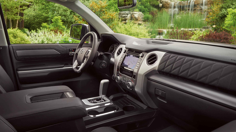 The Tundra Platinum CrewMax interior shown in Black