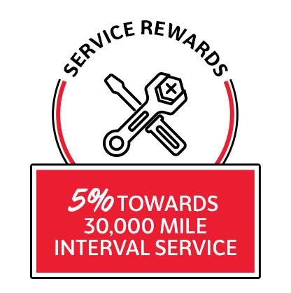 5% towards 30K mile interval service
