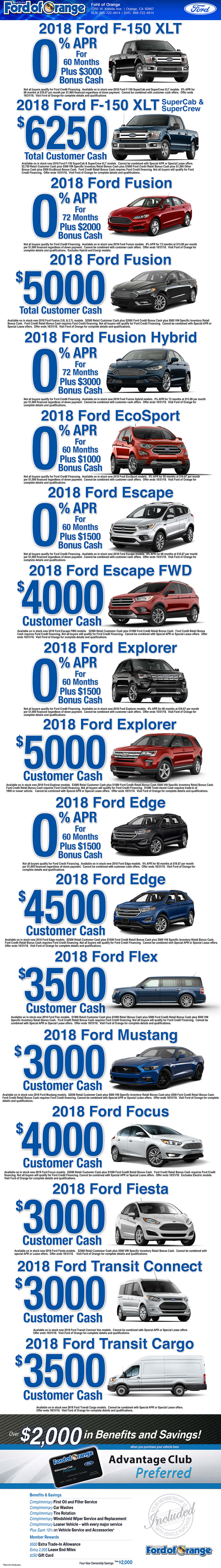 Ford of orange special offers