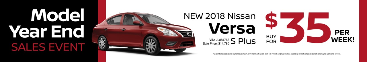 Lease Specials. New 2018 Nissan Versa