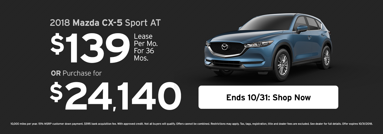 2018 Mazda CX 5 Sport AT   Lease For $139/month For 36 Months ...