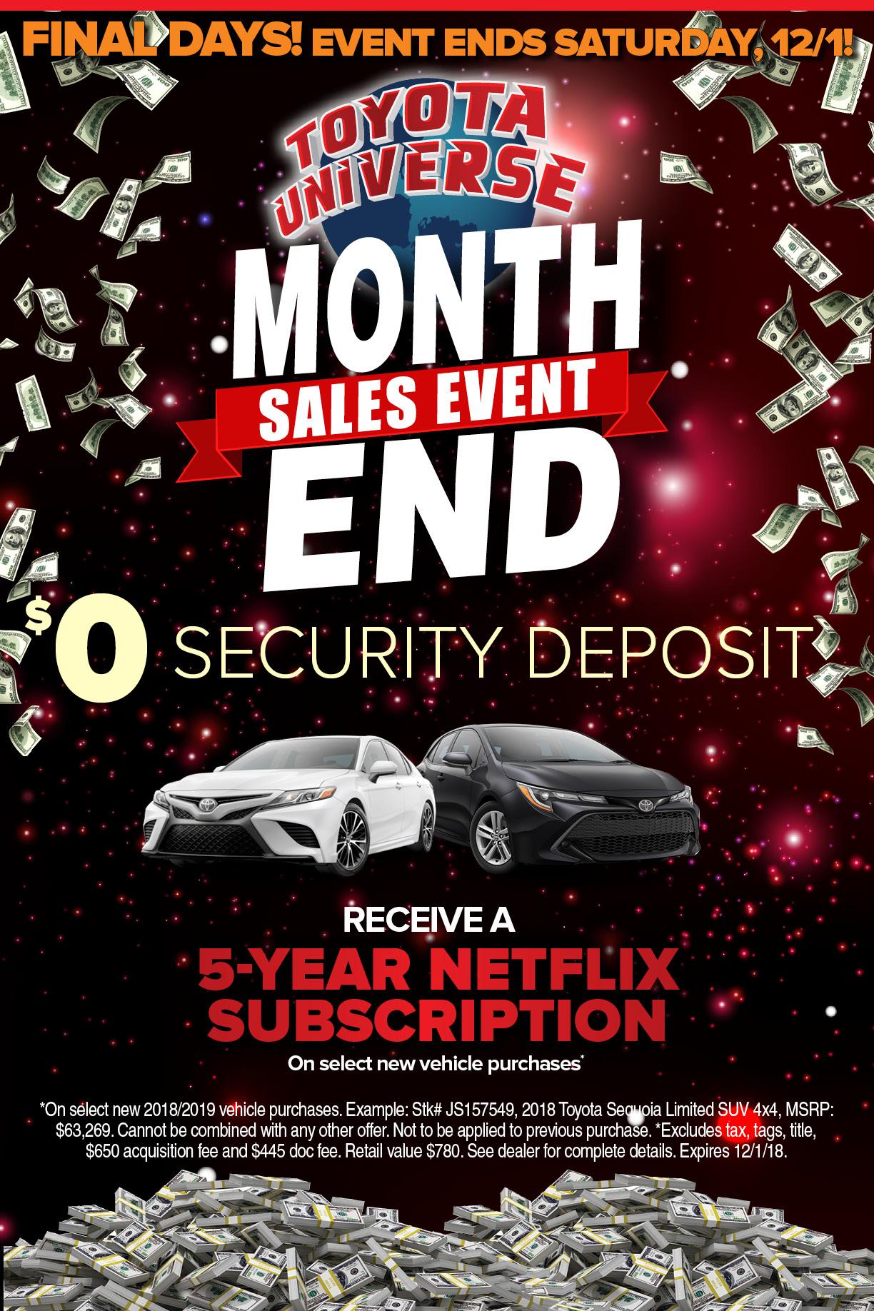 Universe Auto Sales >> Month End Sales Event Toyota Universe