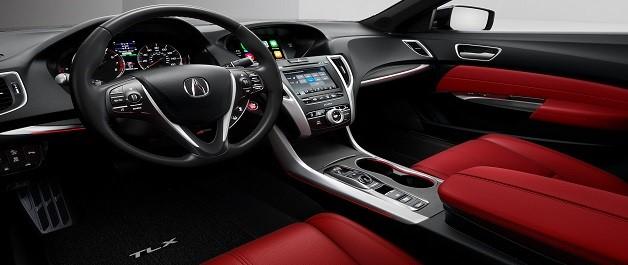 Interior del 2019 TLX SH-AWD® con Paquete A-Spec e interior de color Red.