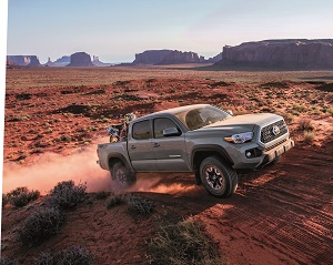 Silver Toyota Tacoma in the Desert