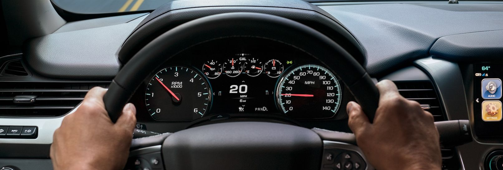 Steering Wheel and Display in the 2019 Tahoe