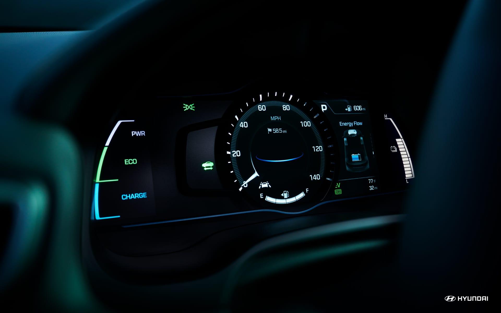 Instrument Cluster in the Hyundai Ioniq Hybrid