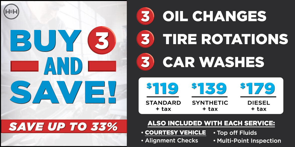 Buy 3 and Save up to 33%. 3 oil changes, 3 car washes, 3 tire rotations: $119-179