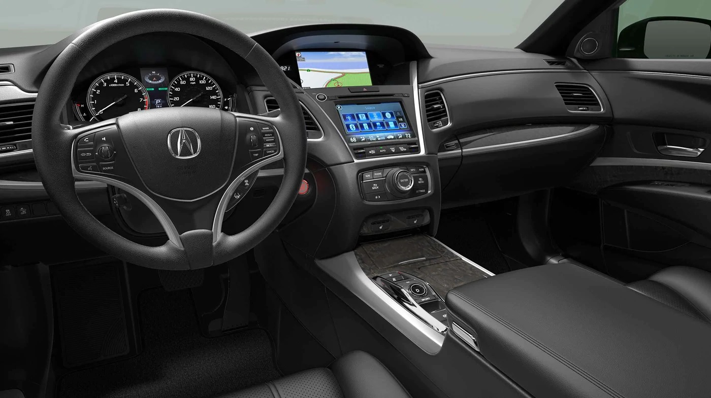 Interior del Acura RLX P-AWS® 219 con interior color Ebony.