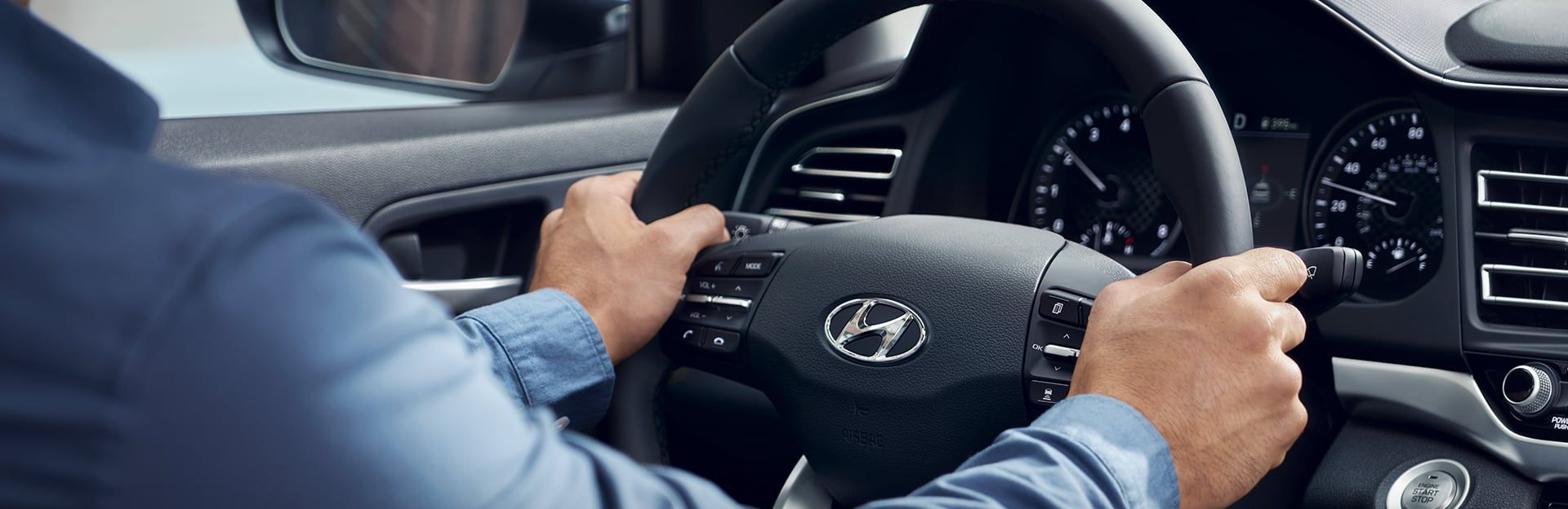 Steering Wheel of the 2019 Elantra