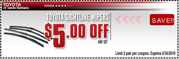 Toyota Wiper Blades Coupon Toyota Specials Near Solvang Ca