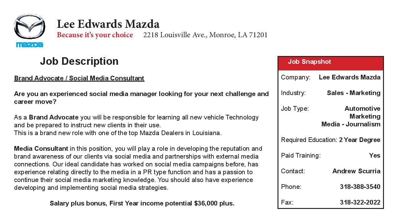 employment opportunities lee edwards mazda employment opportunities lee edwards