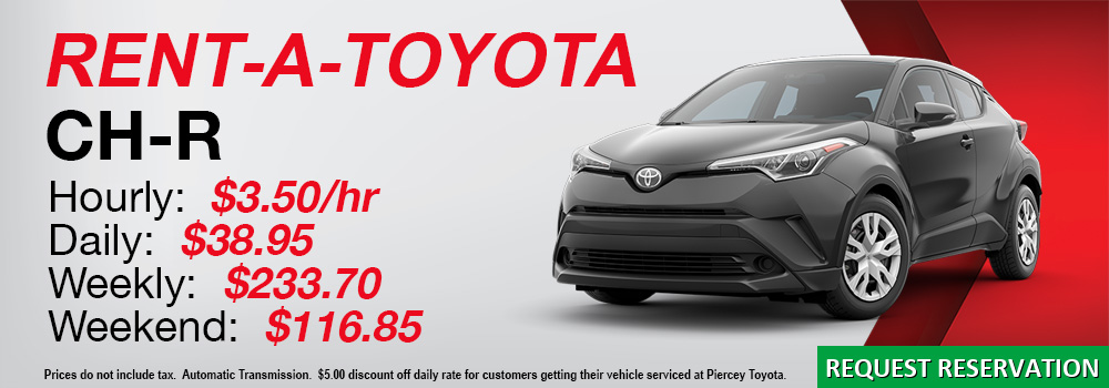 Rent a Toyota CH-R at Piercey Toyota