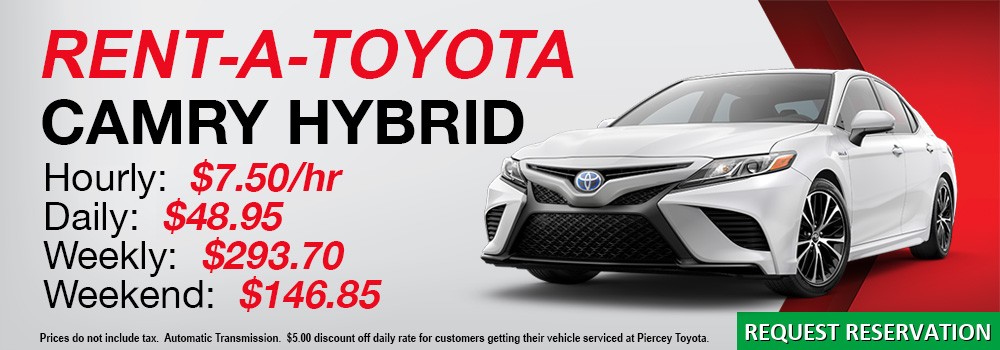 Rent a Toyota Camry Hybrid at Piercey Toyota