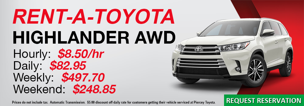 Rent a Toyota Highlander from Piercey Toyota in Milpitas