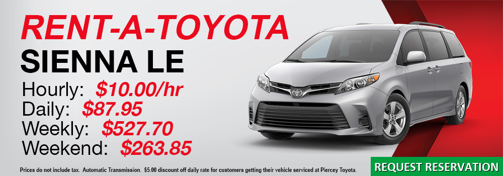 Rent a Toyota Sienna LE from Piercey Toyota in Milpitas San Jose