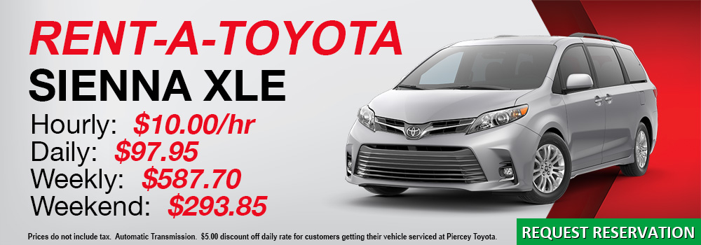 Rent a Toyota Sienna at Piercey Toyota