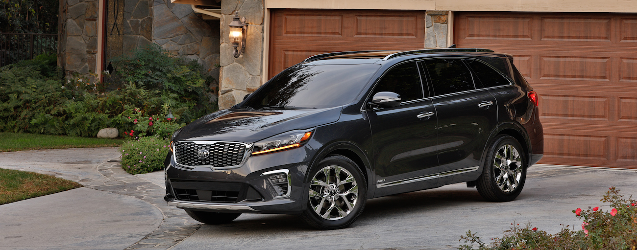 A black 2019 Kia Sorento in the driveway of an Allentown PA home