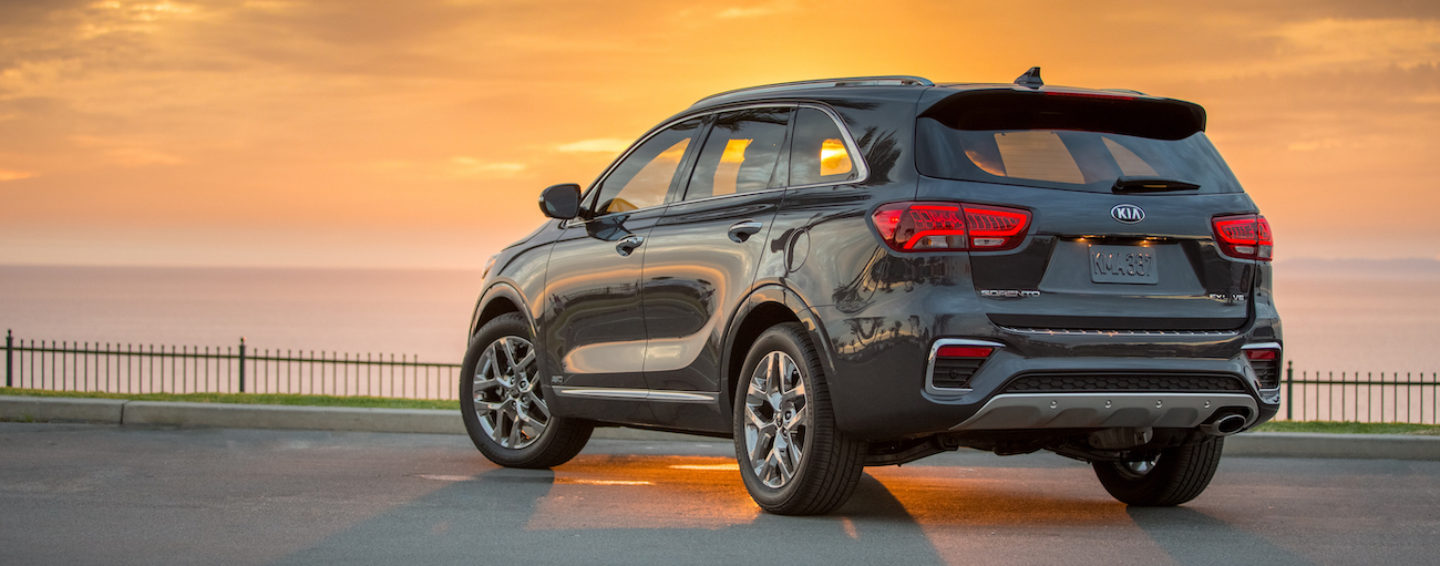 A silver 2019 Kia Sorento in front of an epic sunset