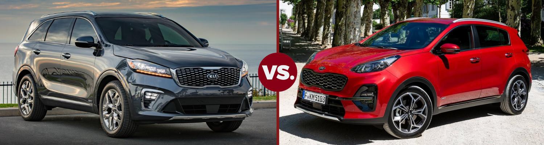 Head to head comparison of a 2019 Kia Sorento and a 2019 Kia Sportage