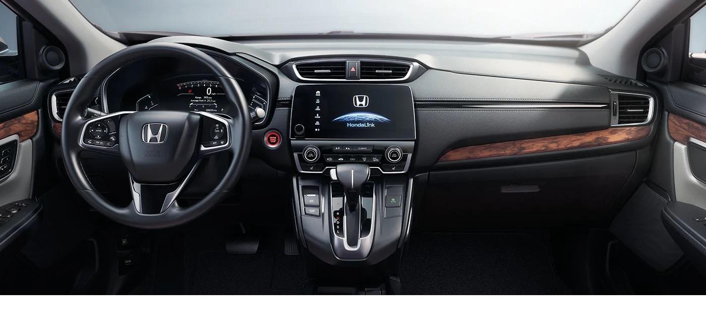 Volante y palanca de cambios tapizados en cuero disponibles en el Honda CR-V 2019