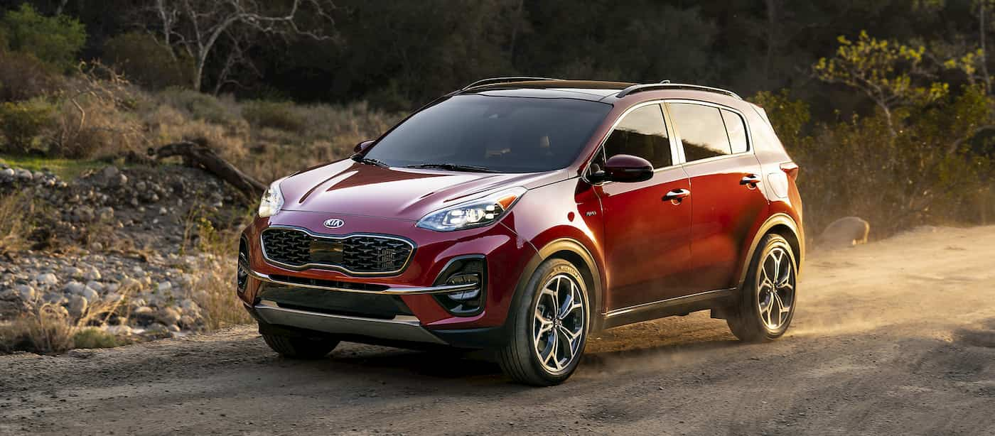A red 2019 Kia Sportage, one of the many sought after Kia lease deals on the market