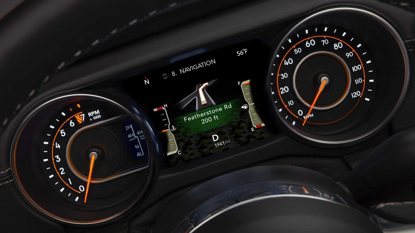 Digital Instrument Cluster in the 2019 Wrangler Unlimited