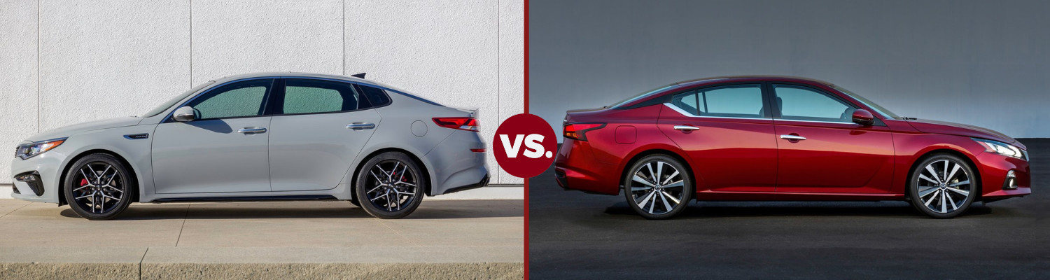 Back to back exterior views comparing the 2019 Kia Optima to the 2019 Nissan Altima