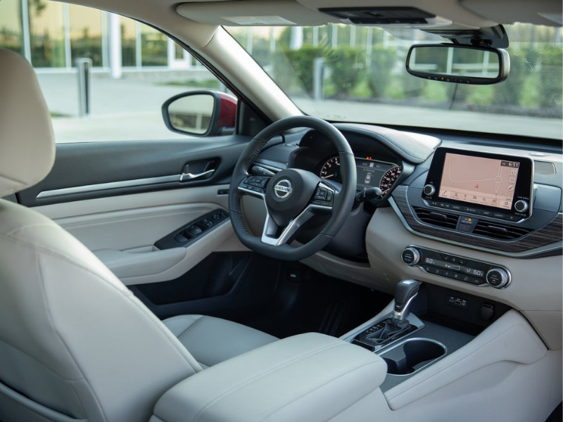 Interior view of the front cabin in a 2019 Nissan Altima